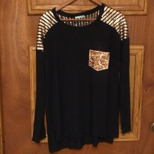 Women's Black long sleeve with sequence